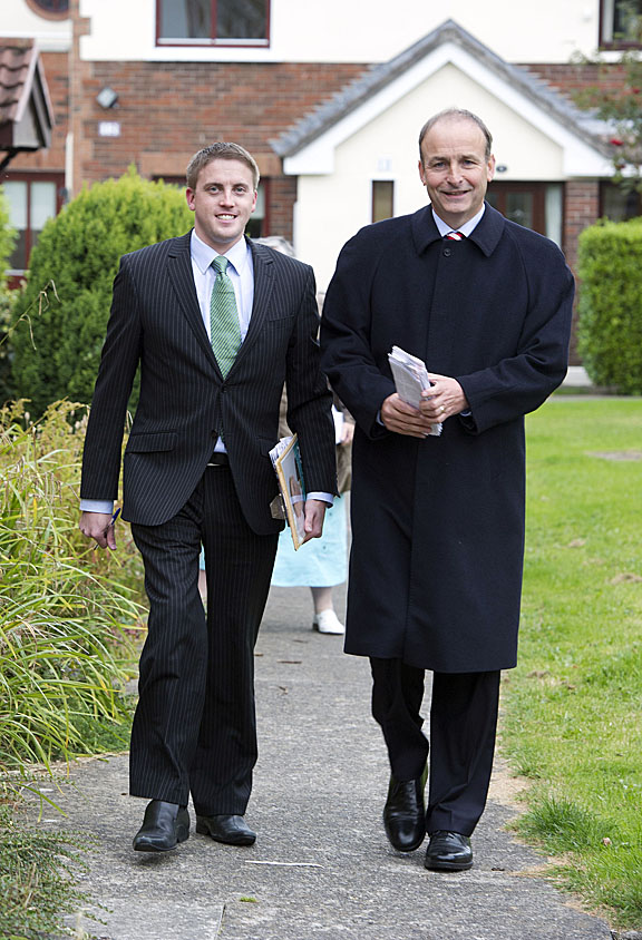 Micheál Martin, Leader of Fianna Fáil canvassing on behalf of Councillor Devlin recently in the constituency